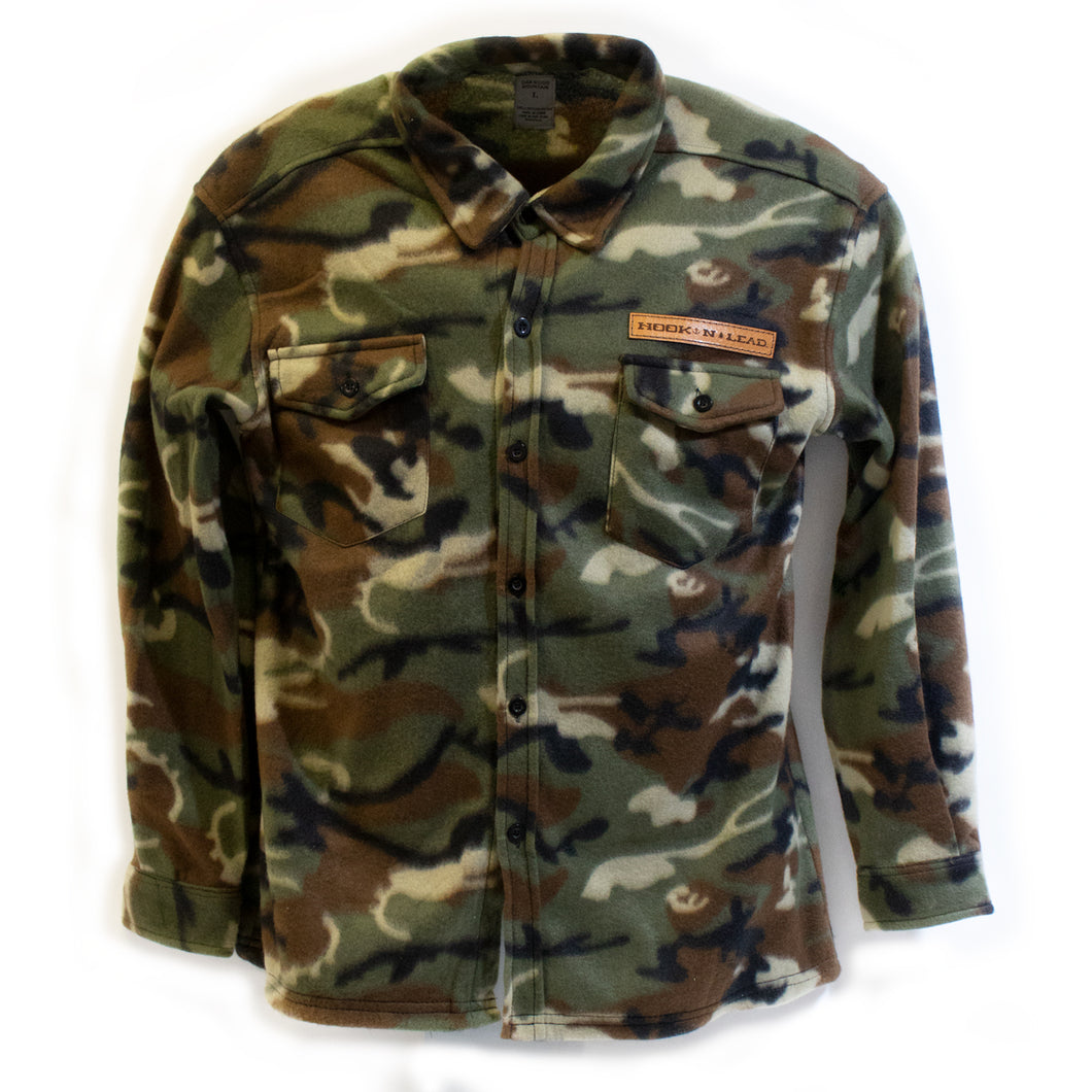 Camo fleece button up shirt with branded leather patch