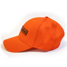 Blazing Orange Hunters Safety Cap with  branded leather patch
