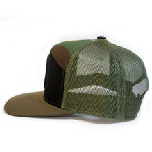 Cammo and black  snap back with branded leather patch