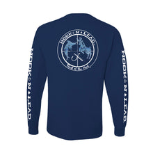 Navy blue DRI FIT Performance Long Sleeve shirt ocean print