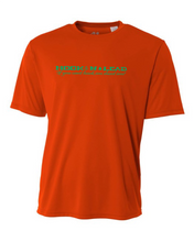 Orange DRI FIT Performance Short Sleeve shirt with green print
