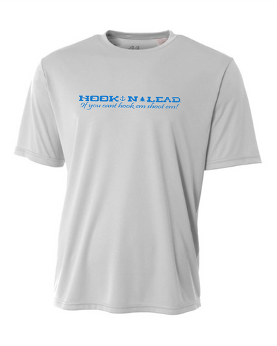 Silver DRI FIT Performance short sleeve shirt with neon blue print