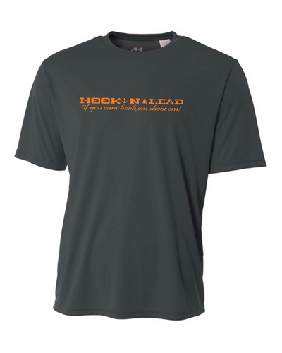 Charcoal Grey DRI FIT Performance short sleeve shirt with neon orange print