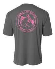 Ladies charcoal grey DRI FIT Performance short sleeve shirt with neon pink print