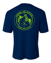 Navy DRI FIT Performance Short Sleeve shirt with neon green print