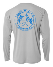 Silver DRI FIT Performance long sleeve shirt with neon blue print
