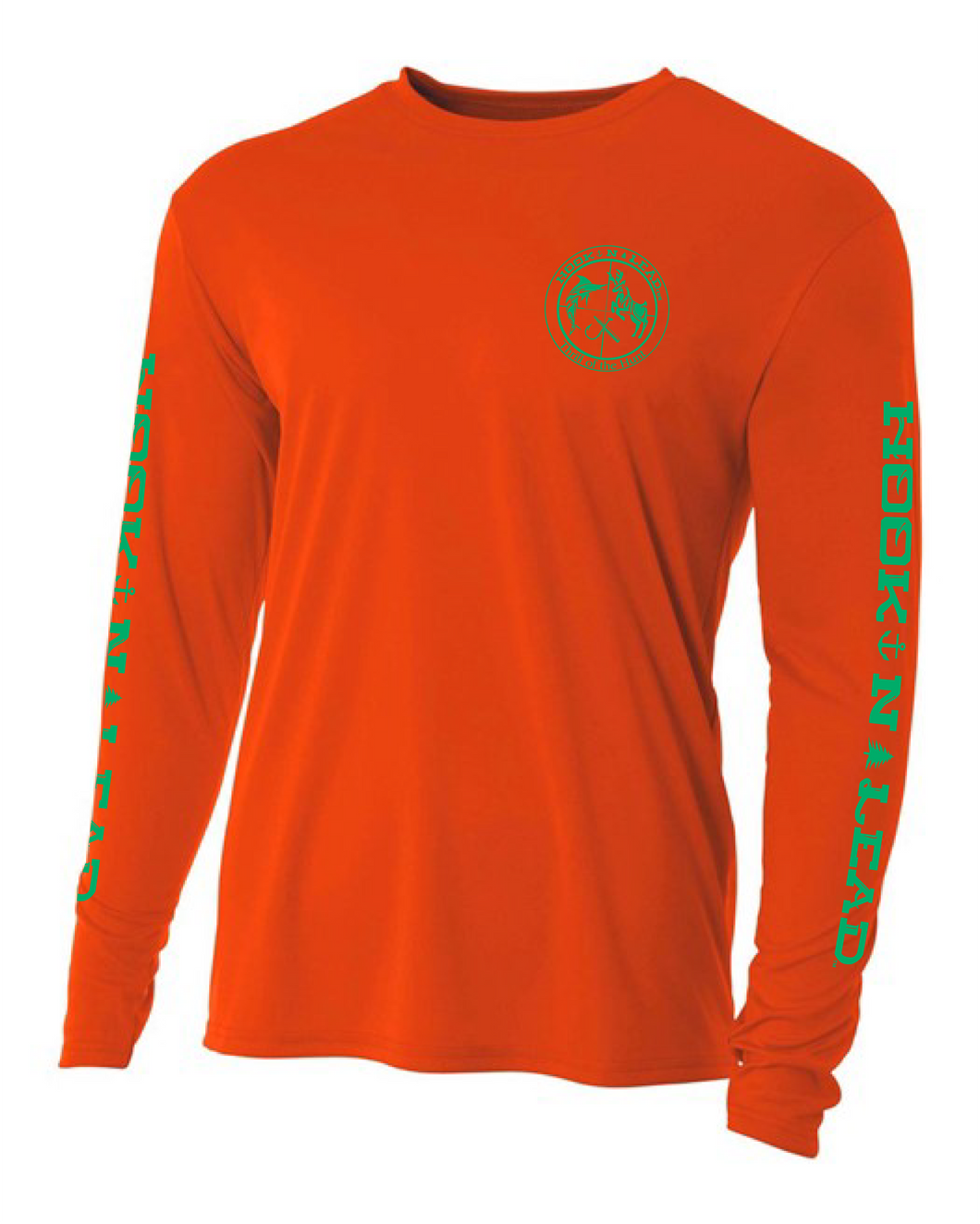 Orange DRI FIT Performance long Ssleeve shirt with green print