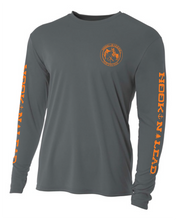 Charcoal Grey DRI FIT Performance long sleeve shirt with neon orange print