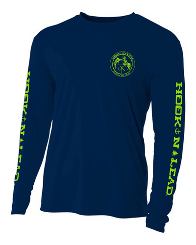Navy DRI FIT Performance Long Sleeve shirt with neon green print