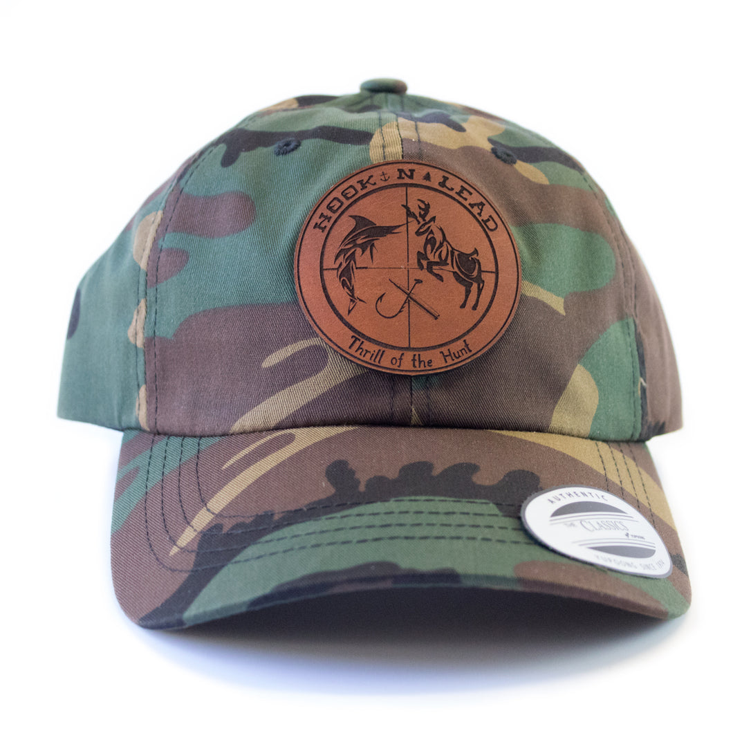 Green Camouflage cap with curved bill and Belt Strap back