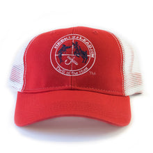 White mesh & red front trucker cap with velcro closure