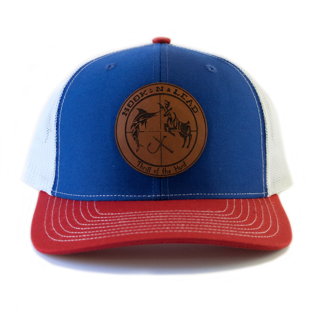 Red White and Royal Blue Richardson Classic Trucker Cap with snap back with brande leather patch