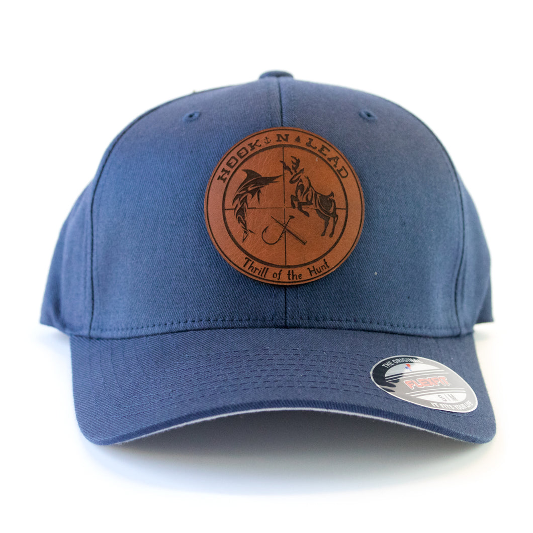 Flexfit Navy Blue Garment-washed cap with leathe branded patch