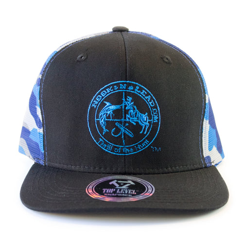 Blue Camouflage & black front cap with a snap back