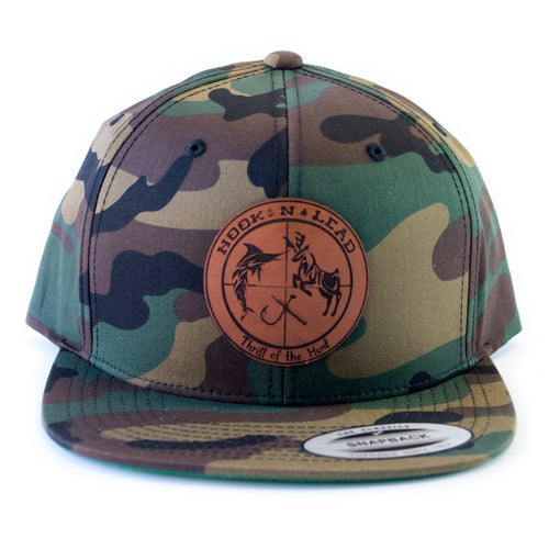 49c81b29741f8 Army camo classic Flex fit flat bill snap back cap with branded leather  patch