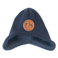 Fleece lined Beanie with branded leather patch