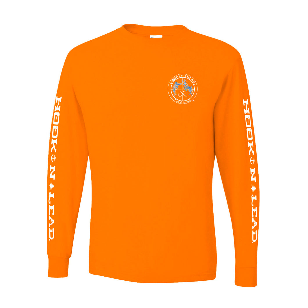 Orange DRI FIT Performance long sleeve shirt with ocean print