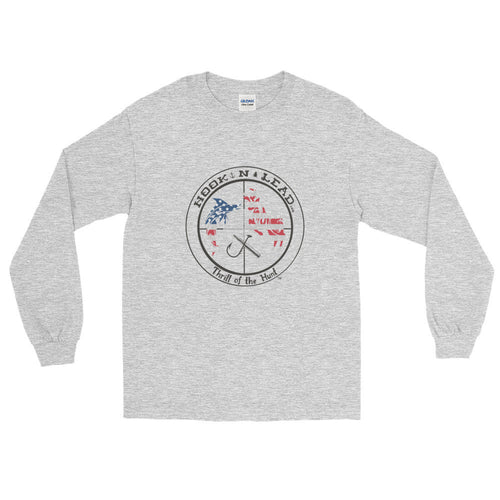 HOOKNLEAD.com offers men and woman a long sleeve t shirt for outdoors man that hunt fish in usa stars and stripes print