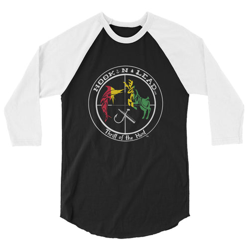 HOOKNLEAD.com offers men and woman a 3/4 sleeve t shirt for outdoors man that hunt fish rasta print