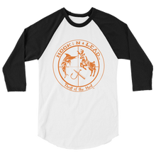 HOOKNLEAD.com offers men and woman a 3/4 raglan sleeve t shirt for outdoors man that hunt fish in blazing orange  print