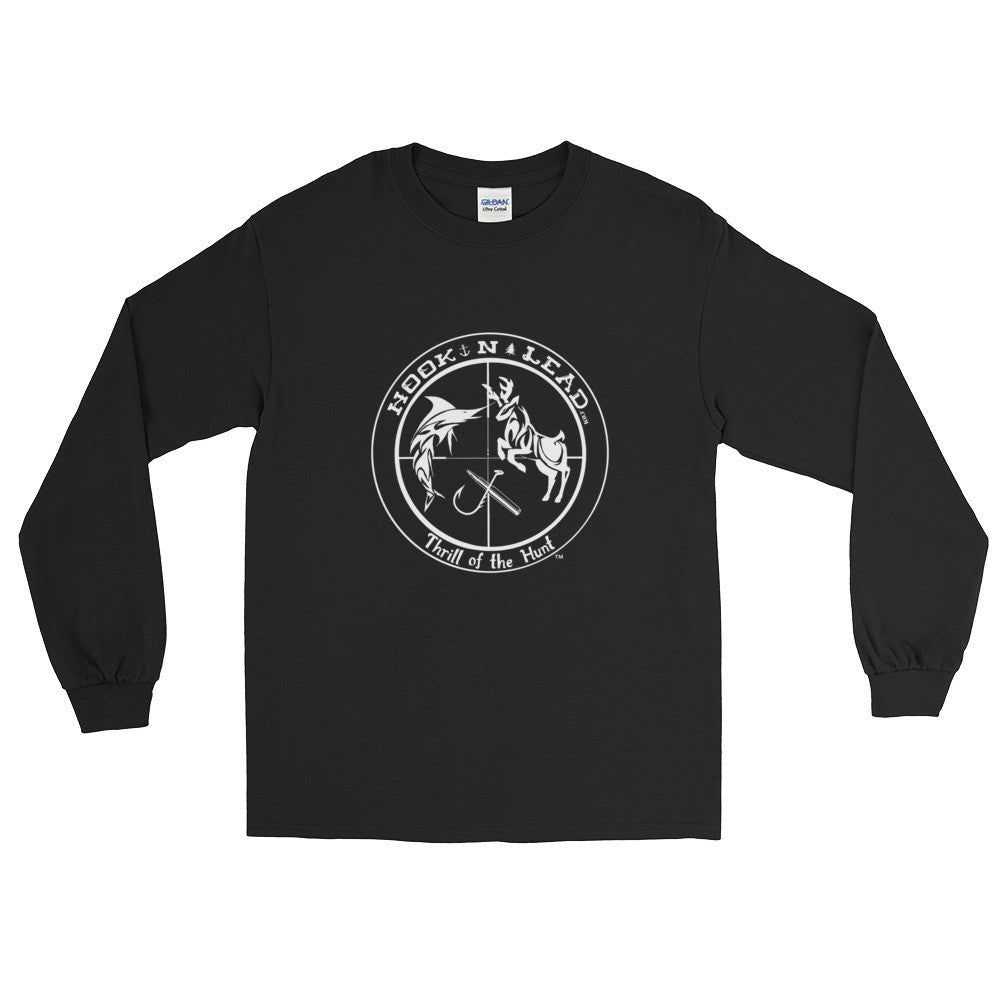 HOOKNLEAD.com offers men and woman a long sleeve t shirt for outdoors man that hunt fish in white print