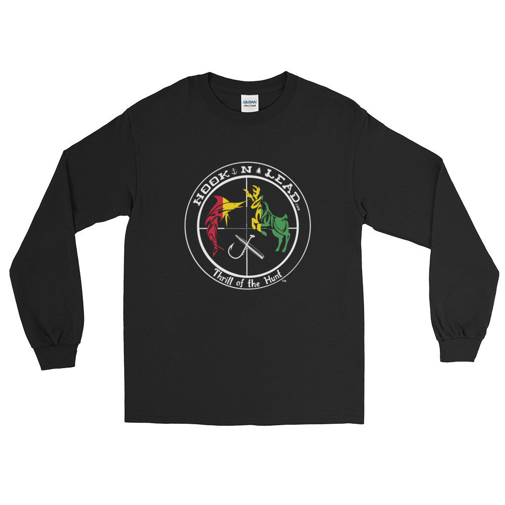 HOOKNLEAD.com offers men and woman a long sleeve t shirt for outdoors man that hunt fish in rasta print