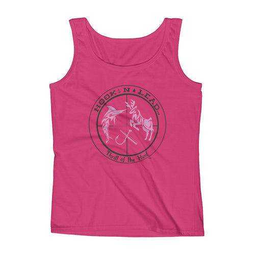 HOOKNLEAD.com offers a woman tank for outdoors man that hunt fish in pink print