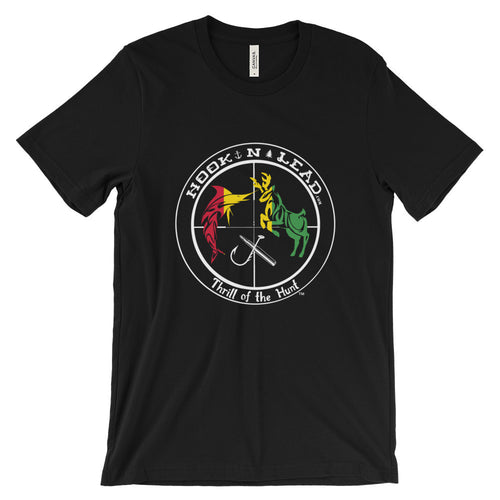 HOOKNLEAD.com offers men and woman a short sleeve t shirt for outdoors man that hunt fish in rasta print