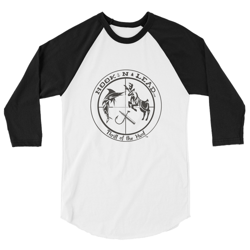 HOOKNLEAD.com offers men and woman a 3/4 sleeve raglan t shirt for outdoors man that hunt fish in black print
