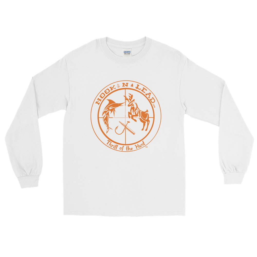 HOOKNLEAD.com offers men and woman a long sleeve t shirt for outdoors man that hunt fish in blazing orange print