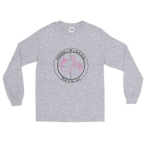 HOOKNLEAD.com offers a womans long sleeve t shirt for outdoors man that hunt fish in pink print