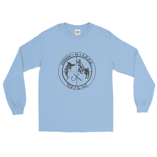 HOOKNLEAD.com offers men and woman a long sleeve t shirt for outdoors man that hunt fish in black print