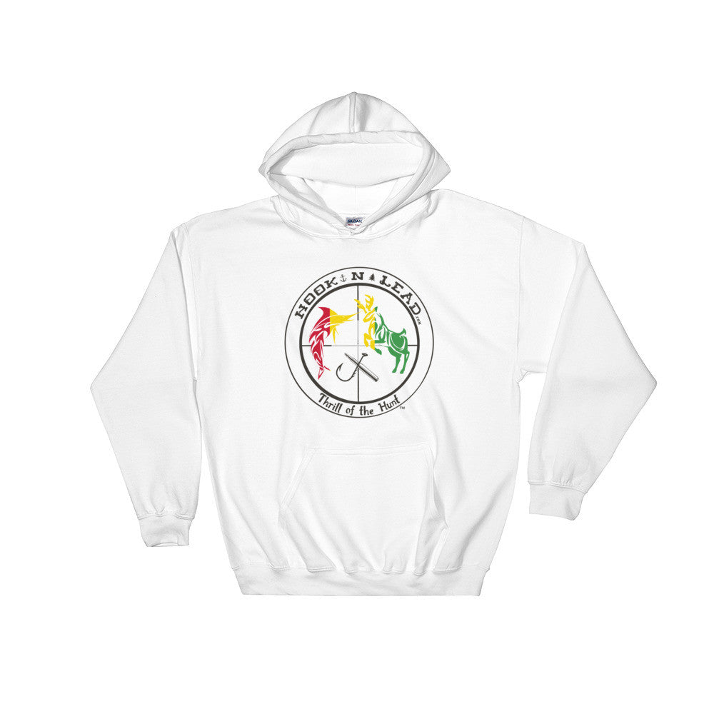 HOOKNLEAD.com offers men and woman a hoodie pullover for outdoors man that hunt fish in rasta print