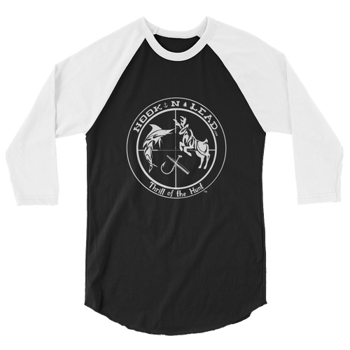 HOOKNLEAD.com offers men and woman a 3/4 sleeve raglan t shirt for outdoors man that hunt fish in white print