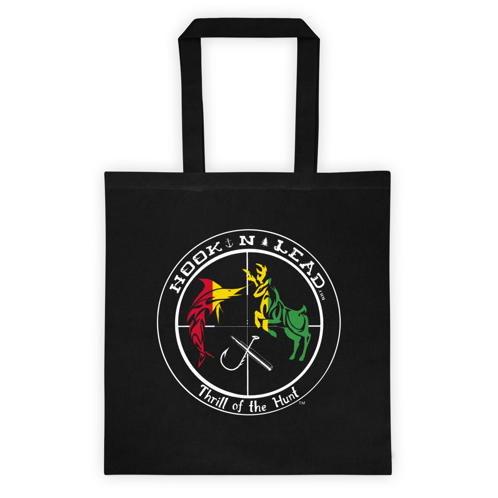 Canvas Tote bag with White Rasta Print