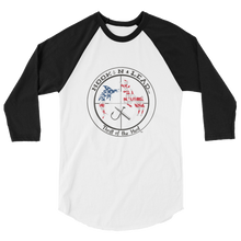 HOOKNLEAD.com offers men and woman a 3/4 sleeve raglan t shirt for outdoors man that hunt fish in stars and stripes print