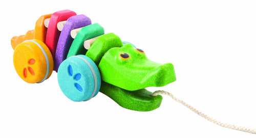 plan toys wooden alligator pull along toy