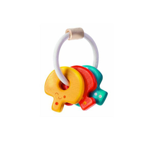 plantoys wooden key rattle baby toy