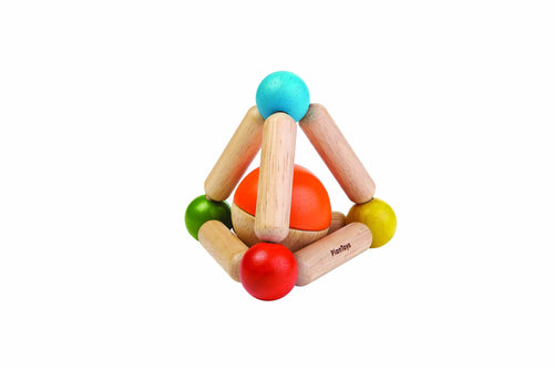 Plan toys wooden triangle clutching toy rattle