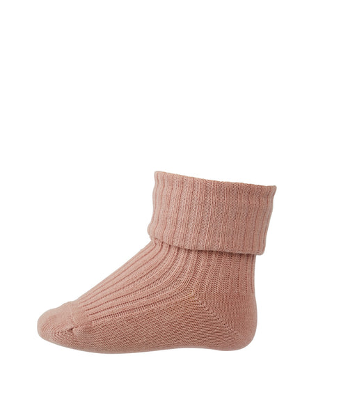 MP Denmark baby cotton rib socks woodrose pink