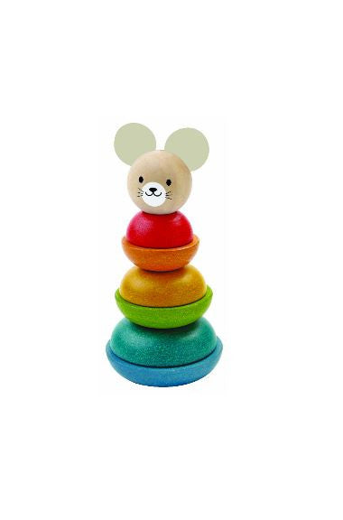plan toys wooden stacking ring toy mouse