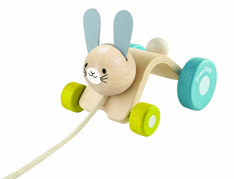 plan toys wooden hopping rabbit pull along toy