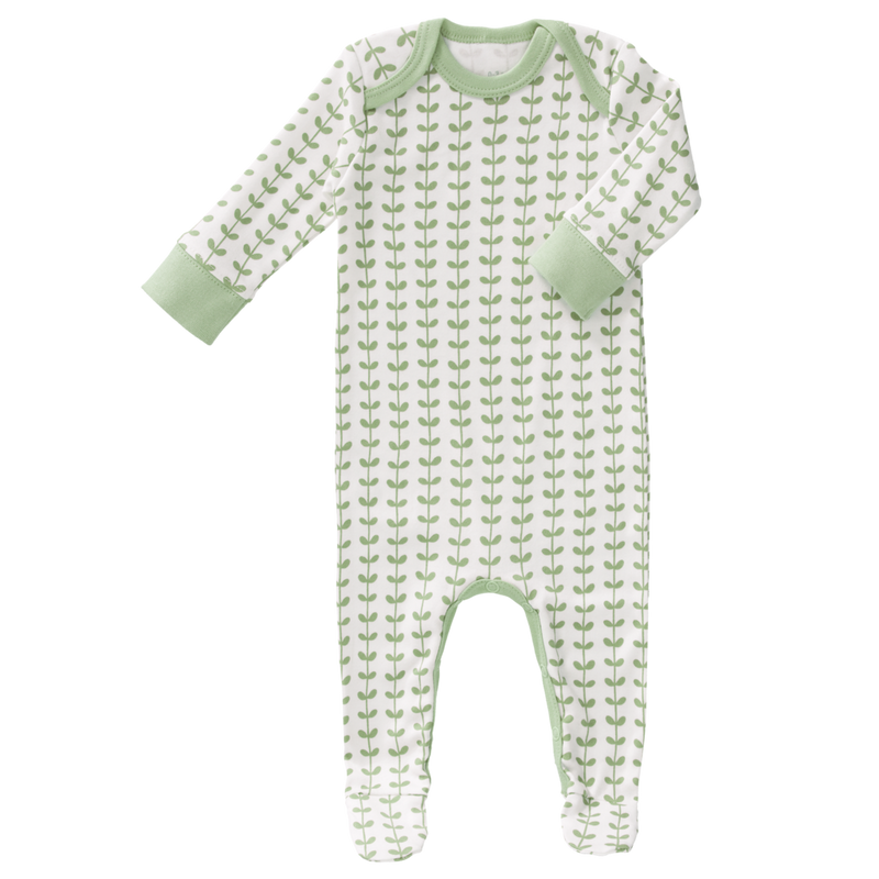 Baby Sleepsuit with Feet - Mint leaves