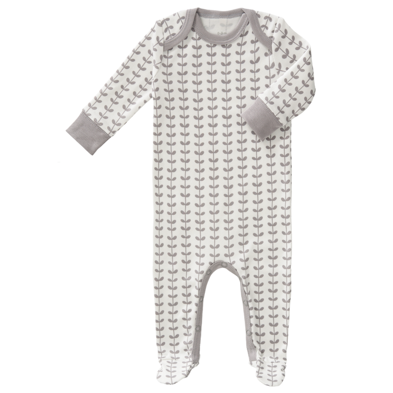 Baby Sleepsuit with Feet - Leaves Gull Grey
