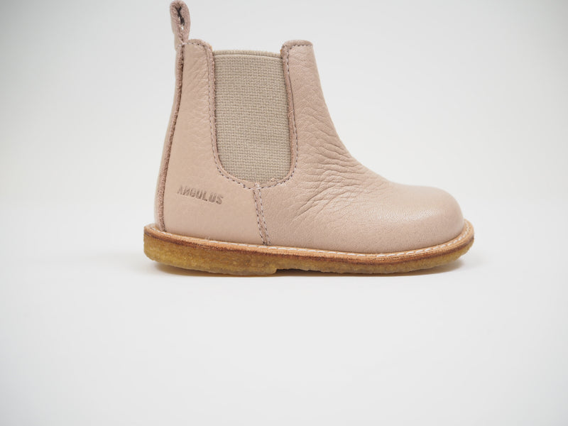 Chelsea Boot with Elastic & Zip - Powder/Beige