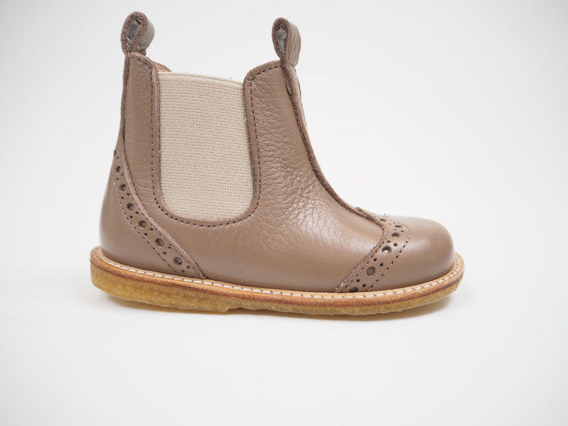Chelsea Boot with elastic & zip - Dusty Rose / Beige