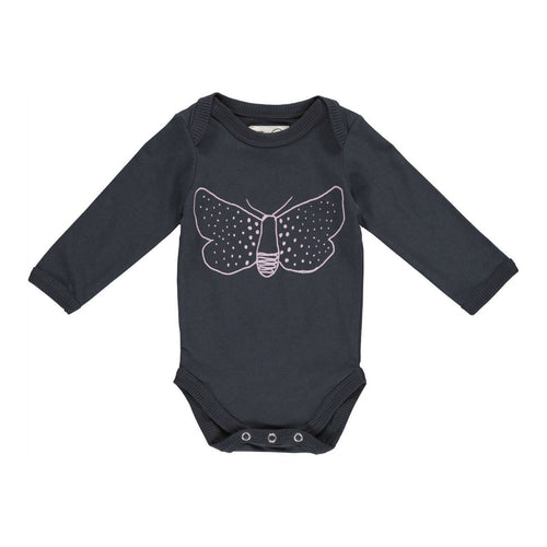 gro company baby body butterfly print darkwashed black