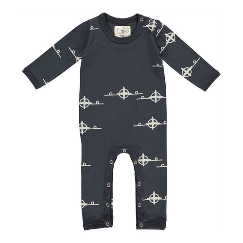 gro company playsuit babygrow black dark washed coal