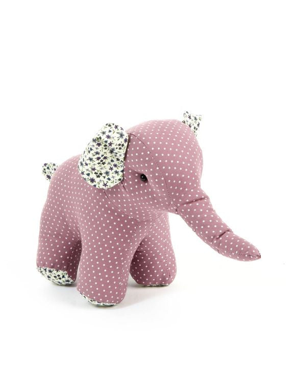Fabric Elephant Toy - Rose Colour