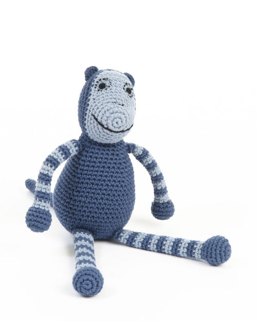 smallstuff crochet soft toy monkey navy blue